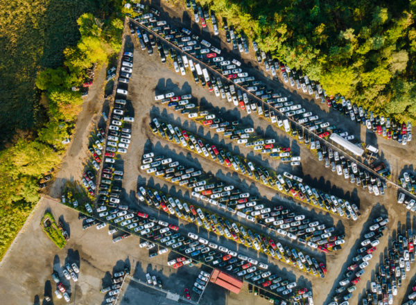 car auction lot - aerial view